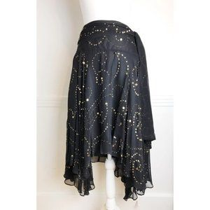 Cache • Gold Sequin Flowy Chiffon Skirt